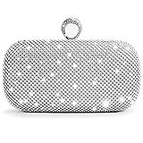 WATACHE Las mujeres brillan diamantes diamantes de imitación garras bolsos de noche bolsos de boda embrague monedero (Plata)
