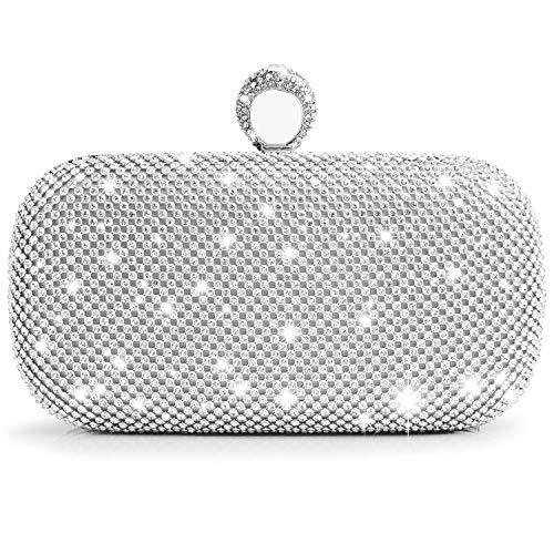 Watache borsa frizione di nozze delle borse delle borse di sera delle borse delle frizioni del diamante di scintillio del diamante (argento)