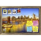 ArtzFolio Brooklyn Bridge & East River, New York USA Printed Bulletin Board Notice Pin Board cum Antique Golden Framed Painting 17.5 x 12inch
