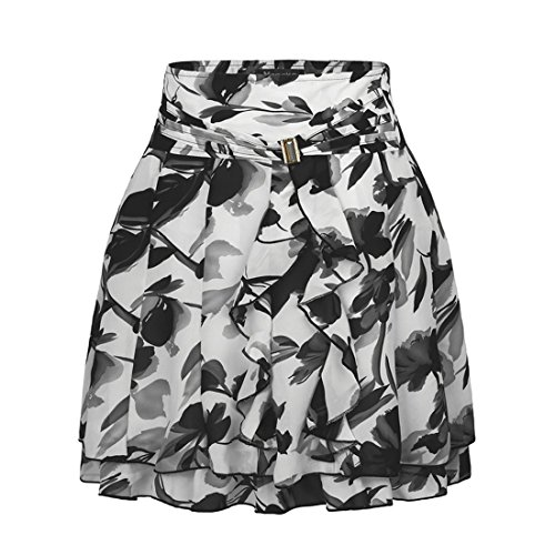 Wincolor Damen Hoher Bund A-linie Leopard Gepunktet Polka Dots Rüschen Skater Rock (Skirt Knee-length Flare)