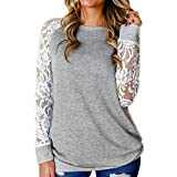 Save 45%~Clearance !!! YANG YI,Women's Casual Stylish Lace Floral Splicing Round Neck Long Sleeves Tops T-Shirts