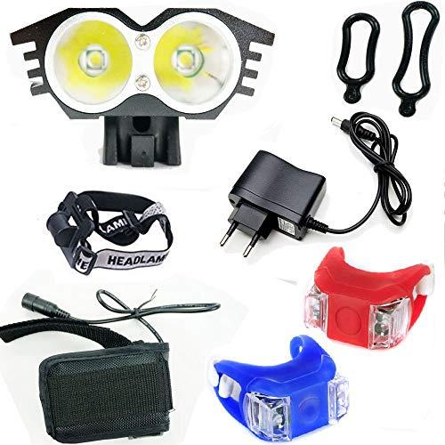 Wit Licht LED Camping Lantern Lamp Fiets CREE XM-L U2 - Receptie LED-licht voor fietsstuur (2 schijnwerpers, Lumens 5000, 4 modes) met 2 x achterlicht Lights Lamp voor Fiets (zwart)