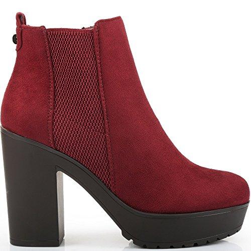 Ideal Shoes - Bottines à talon et bande élastique Plismu Rouge
