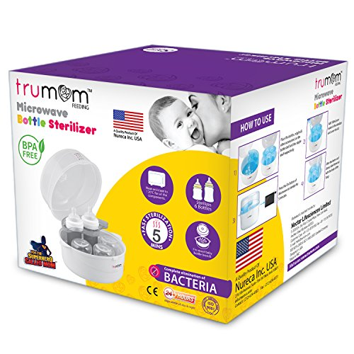 Trumom (USA) Steam Safe Microwave Baby Bottles Sterilizer (Fits 6 bottles of all brands) Complete elimination of bacteria in just 2 minutes !!!