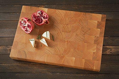 Tagliere End grain design quadrato in ciliegio marrone naturale forma rettangolare grande 45x 30x 4.5cm (Tagliere End)