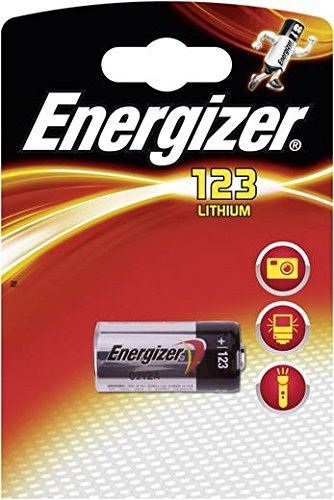 Batterie Lithium CR 123 Energizer - Lithium 3 V für Digitalkameras, Kameras Video, Rauchmelder Feuer, Durchmesser: 17 mm hoch 34 mm Rauchmelder-video-kamera