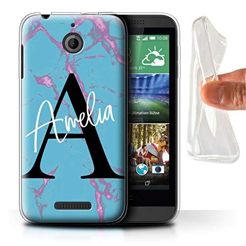 Stuff4® Personalisiert Individuell Marmor Handschrift Initialen Gel/TPU Hülle für HTC Desire 510 / Aqua Blau Schwarz Buchstabe Design/Initiale/Name/Text Schutzhülle/Case/Etui