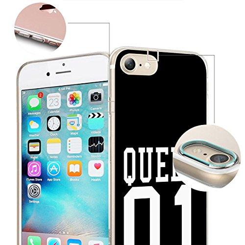 finoo | iPhone 6 / 6S Handy-Tasche Schutzhülle | ultra leichte transparente Handyhülle aus flexiblen Silikon | stylisches TPU Cover Case mit Motiv | King one schwarz Queen one schwarz