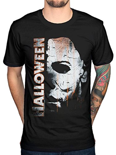 Official Halloween Michael Myers Mask and Drips T-Shirt Horror Film - Halloween Film T Shirts