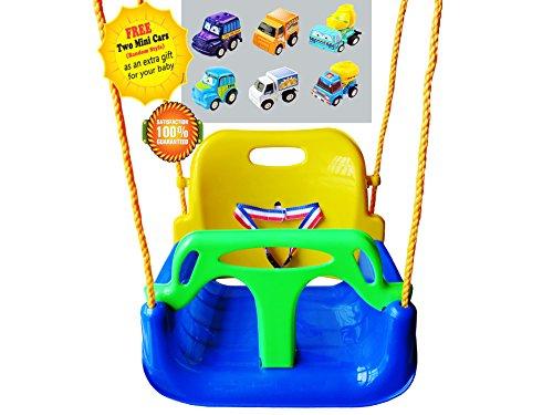 Preisvergleich Produktbild Littlefun 3-in-1 Säugling zum Kleinkind Swing Set Upgrade Anti-Flip Snug & Secure Abnehmbare Kinder Indoor Outdoor Spiel Home Patio Garten (Blau Stuhl+Grün Handlauf)