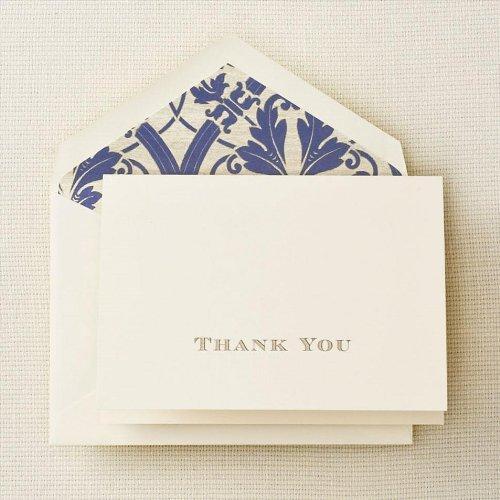 Crane & Co. Gold Hand Engraved Regency Thank You Note (CT1265) by Crane & Co. - Regency Bürobedarf