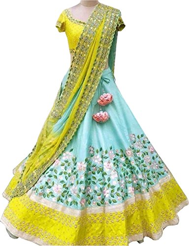 Limbudy Creation Women's Taffeta Silk Lehenga Choli (Xntr_Agl-01-T16,Pink,Free Size, Semi-Stitched)