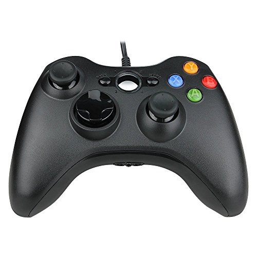 Wired Controller für Xbox 360, Prous XW03 PC-Controller Xbox 360 Wired USB Gamepad Kompatibel für Microsoft 360 Konsole Windows PC Laptop-Computer-Reines Schwarz
