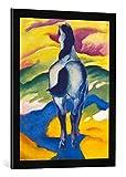 Gerahmtes Bild von Franz Marc Blaues Pferd II, Kunstdruck im hochwertigen handgefertigten Bilder-Rahmen, 50x70 cm, Schwarz matt