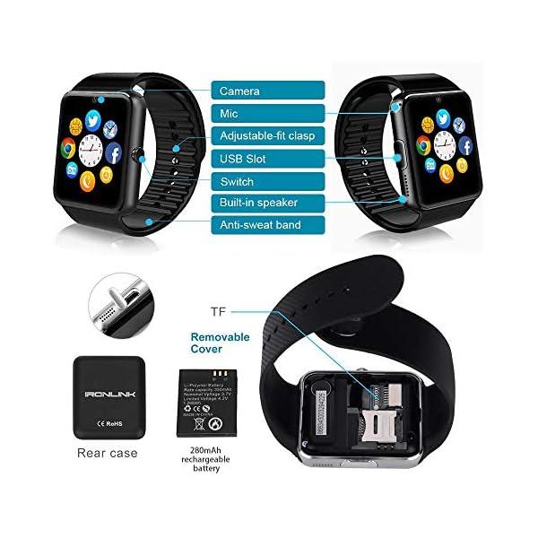 Reloj Inteligente, Smartwatch Bluetooth y Ranura para Tarjeta SIM con Rastreador de Actividad, Podómetro, Cronómetros Reloj de Fitness, Reloj Iinteligente Hombre Mujer niños Android/iOS Phone 11
