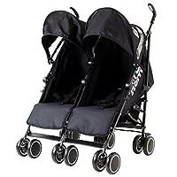 Zeta Citi TWIN Stroller Buggy Pushchair - Black Double Stroller