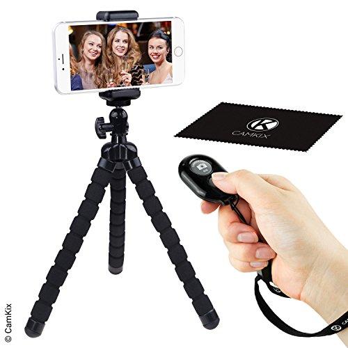 Flexibles Handystativ und Kameraverschluss mit Bluetooth Fernbedienung - für iPhone, Samsung Galaxy und viele mehr - Halterung im Octopusstil - Universelle Handyhalterung - Lösung für Fotografie (Fernbedienung Iphone 6)