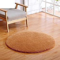 Piel de cordero redondo de alfombra Simple dormitorio cama sala mesa de centro color sólido grueso ordenador sillas para alfombras de uso doméstico-D diámetro100cm(39inch)