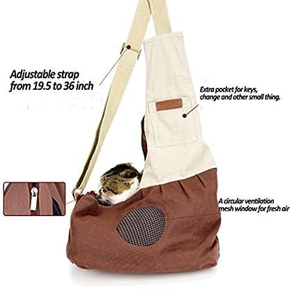 Pet Carrier Backpack Comfort Breathable Travel Tote Shoulder 100% Cotton Sling Bag with Pouch Adjustable Strap For Dog… 6
