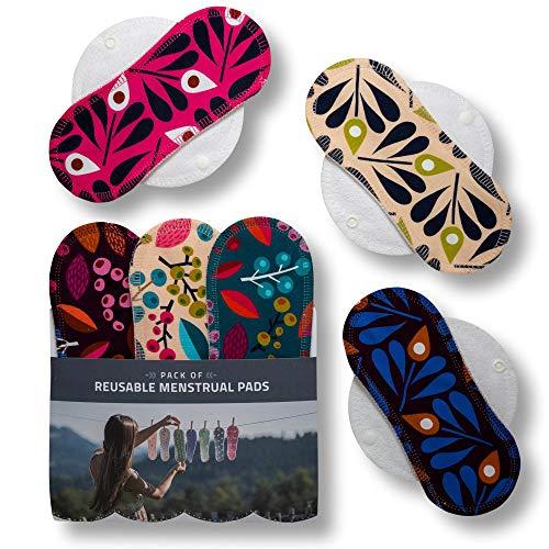 Waschbare Stoffbinden, 6er Pack (Größe: S+M) Bio Baumwolle Wiederverwendbare Binden mit Flügeln; MADE IN EU; Damenbinden für Menstruation, Inkontinenz; Stoffbinden aus Baumwolle ohne Chemikalien