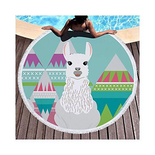 Junhongzhang asciugamano da spiaggia rotondo stile tartaruga alpaca con nappe 500g microfibra tappezzeria coperta da picnic con tappetino bikini (150 cm), alpaca 2