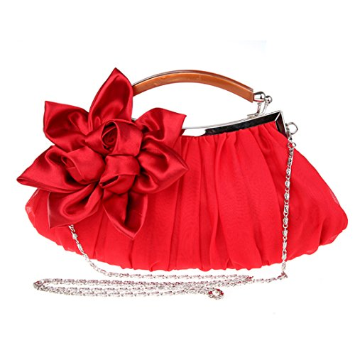 KAXIDY Borsa Pochette Fiori Borsa Sacchetto Donne Eleganti Pochette Da Sera (Bianco) Rosso