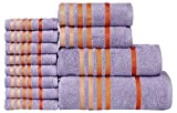 CASA COPENHAGEN Exotic Collezione - Set di 12 asciugamani da bagno mani-viso in cotone, qualità 475 g/m², Colore: Dewberry