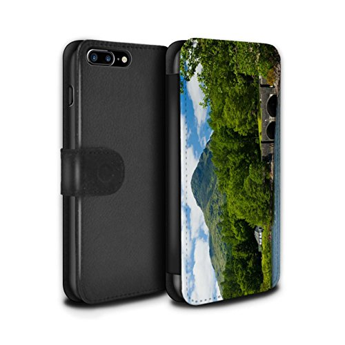 STUFF4 PU-Leder Hülle/Case/Tasche/Cover für Apple iPhone 7 Plus / Tal Muster / Schottisch Landschaft Kollektion Brücke/Berg
