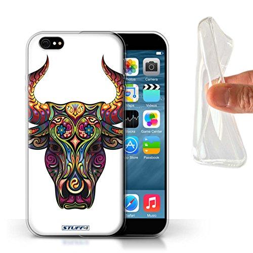 Stuff4 Gel TPU Hülle / Case für Apple iPhone X/10 / Katze Muster / Deko-Tiere Kollektion Stier