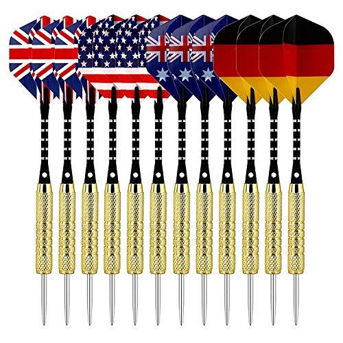 12 Stück Dartpfeile, Darts Pfeile Set mit National Flagge Flights Edelstahl Stahl Nadel Spitze Dart 18 Gramm Beschichtete Metallfässer Darts