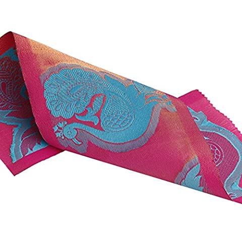 Neotrims 160mm Wide Stunning Peacock Motif Embellished Sari Trimming Craft Ribbon By The Yard. A Unique Fabric Style Border, Two Tone Shimmering Metallic Base with a embroidery style surface Jacquard - Magenta & Turquoise - 1 Meters