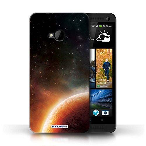 Kobalt® Imprimé Etui / Coque pour HTC One/1 M7 / Planète Pourpre conception / Série Cosmos Planète Orange