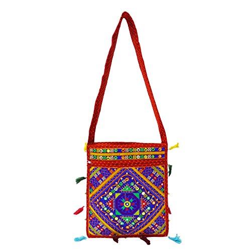 Hmong Grande Tote Bag Ricamata Trasportare La Borsa Sulle Spalle Delle Donne Nuova Borsa Indiana Arancia-C