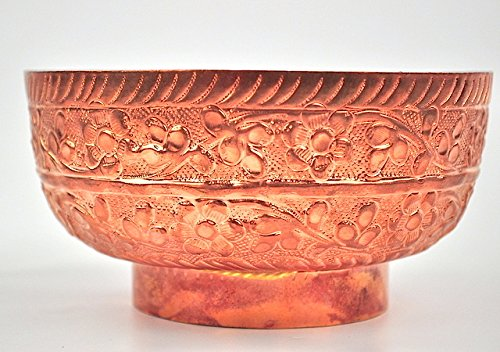 Pure Copper soup dessert Bowl with embossed floral pattern Medieval