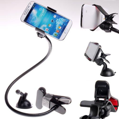 Universal Saugnapf Holder, Schwanenhals, + Clip Saugnapf, Kfz Halterung Windschutzscheibe KFZ Staubabsaugung Montagehalterung für das Handy GPS PDA, 360Grad Rotation-, schwarz, kxc5013-black