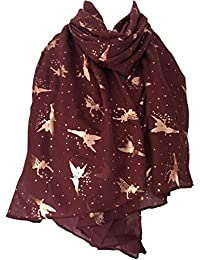 Purple Possum Fairy Scarf Burgundy Rose Gold Tone Fairies, Ladies Claret Cotton Sparkly Foil Fairy Shawl Wrap