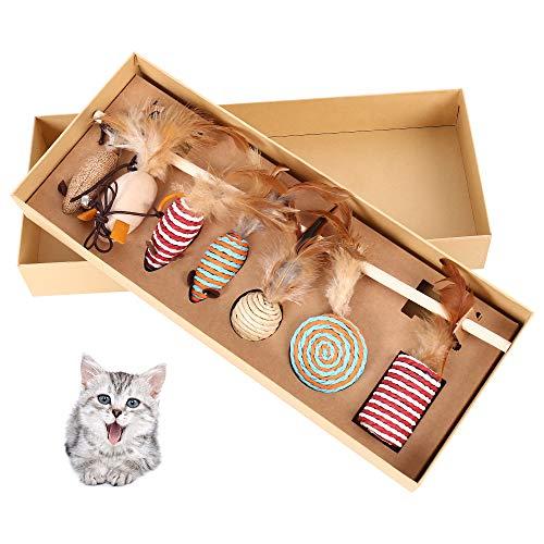 Comficent Katzenspielzeug Set mit 40cm Katzenangel, 7 Stück Ersatzspielzeug mit Federn