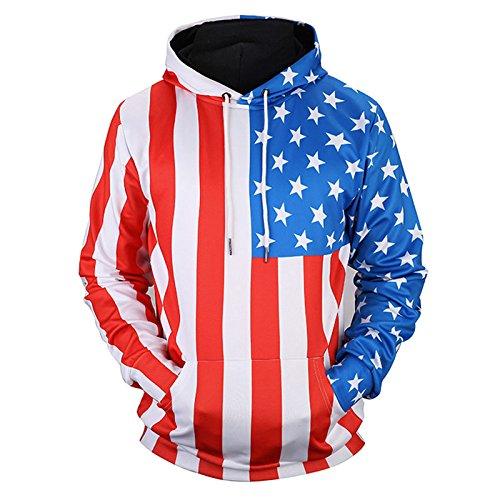 TOPDCLSN Ankünfte Männer/Frauen dünnen Sweatshirts 3D Drucken Sterne Gestreifte USA-Flagge Unisex Hooded Sweats Pullover, 17090201, XL -