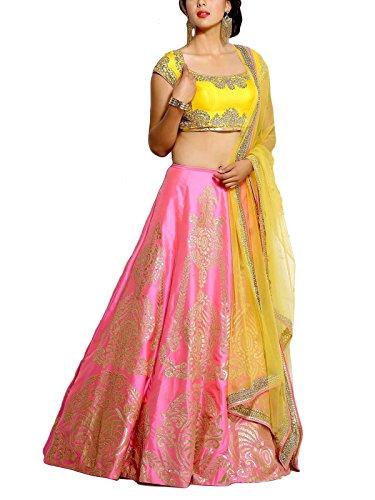 Ziyaan Women's Taffeta Lehenga Choli (Pink,Free Size, Semi-Stitched)
