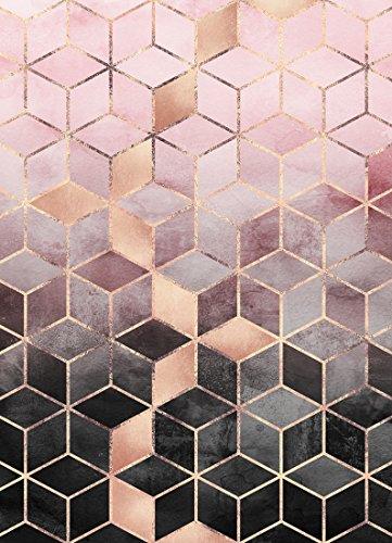 "JUNIQE® Leinwandbild 60x90cm Abstrakt & Geometrisch - Design ""Pink Grey Gradient Cubes""..."