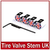 sprigy (TM) 4capuchons Valve pneu roue de voiture Antivol Tige Air pour Subaru UK drapeau national tire-cap emblème Pneu Valves Drapeau Valve