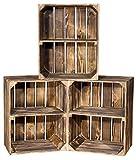 Vintage-Möbel24 GmbH 6er Set geflammte Kiste für Schuhregal und Bücherregal quer- Obstkiste Holzkiste Dekokiste Weinkiste - Obtkistenregal Regalkiste Kistenregal Regal - flambiert dunkel 50x40x30cm