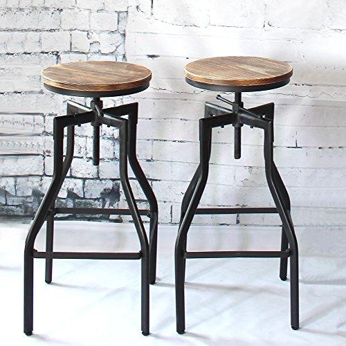 Descripción La silla de estilo industrial iKayaa aplica acero robusto y grueso como marco, madera de pino natural como silla, bastante sólida y cómoda. La parte superior de madera está hecha a mano y tiene un aspecto rústico, una especie de elegancia...