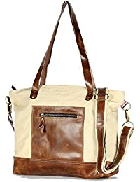 Decorlives Women's 100% Geniune Leather And Off White Canvas Tote Lightweight Shoulder Bag Ladies Handbag Shopping...