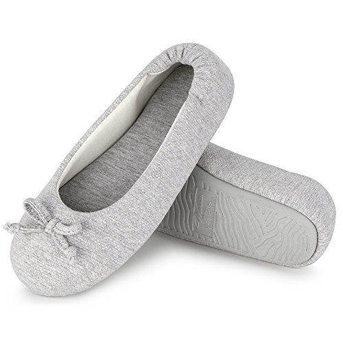 Wishcotton Womens Breathable Ballerina Slipper Closed Toe Slip On Slippers, 38/39 EU,  Grau