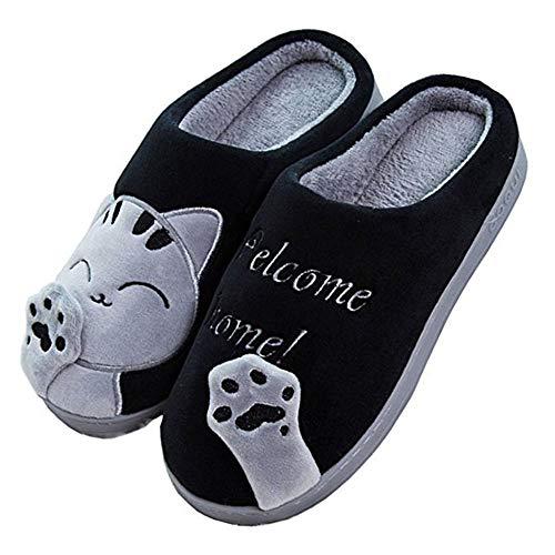 JACKSHIBO Herren Hausschuhe, Warme Plüsch Hausschuhe Indoor rutschfeste Slippers Cartoon Cat Pantoffeln Für Damen, Schwarz, 40/41 EU