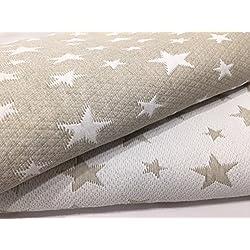 Colcha Cubrecama ESTRELLITAS de Jacquard Estrellas en Color Gris o Beig (Todas las medidas) (Beige, 235x260 (cama 135 cm))