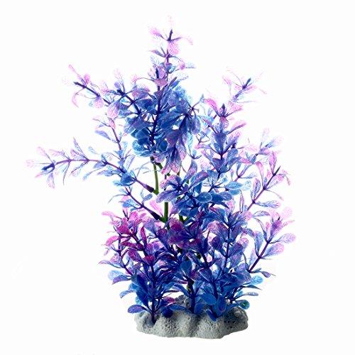 SODIAL(R)Kuenstliche Kunststoff Pflanze Dekoration fuer Aquarium - Blau & Lila -