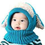 AUVSTAR Neonata per bebè Bambino Inverno Sciarpa Set Cutest Earflap Cappuccio Warm Knit Hat Sciarpe con orecchie Snow Neck Warmer Skull Cap Regalo di Natale per bambini 6-36 Mesi (blu)