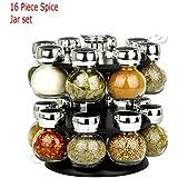 Dny® Support à épices tournant avec 16 bocaux Verre, Herbes, Cuisine, Maison, Chef cuisinier, indien, rangement, noir, 24 x 24 x 25cm